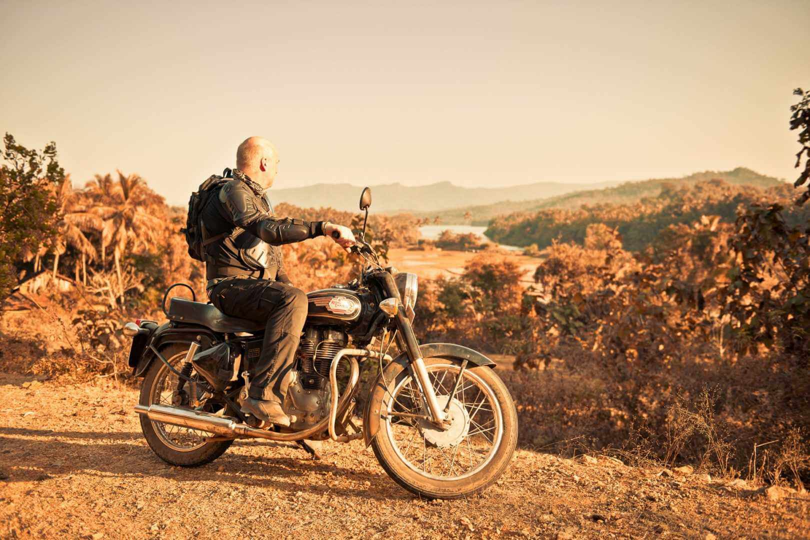 Motorcyclist enjoying Indian views
