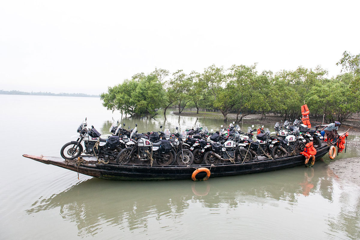 canoe of motorcycles for motorbike trip in north east india