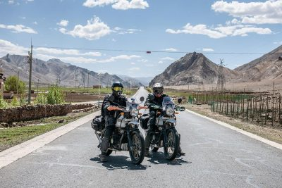 Motorcyclists driving through Everest
