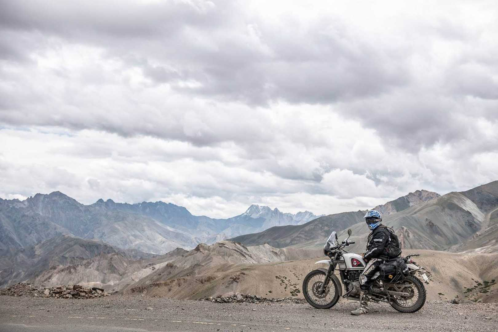 Motorcyclist in the Himalayas