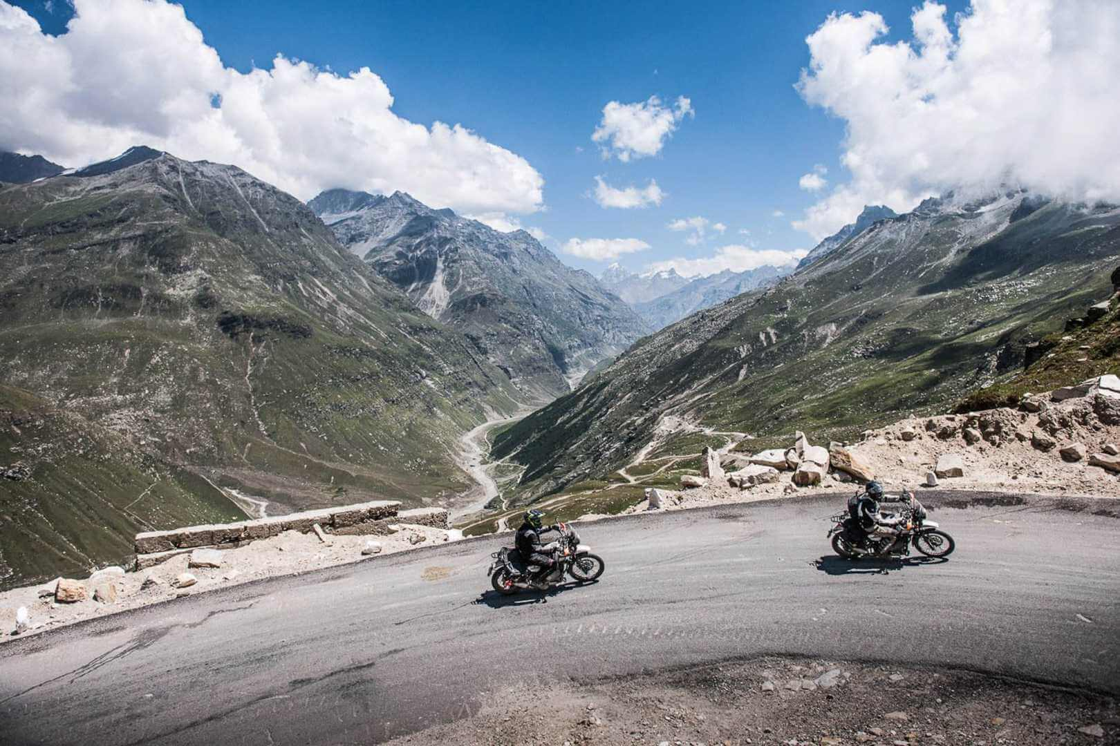 Motorcyclists riding up the Himalayas
