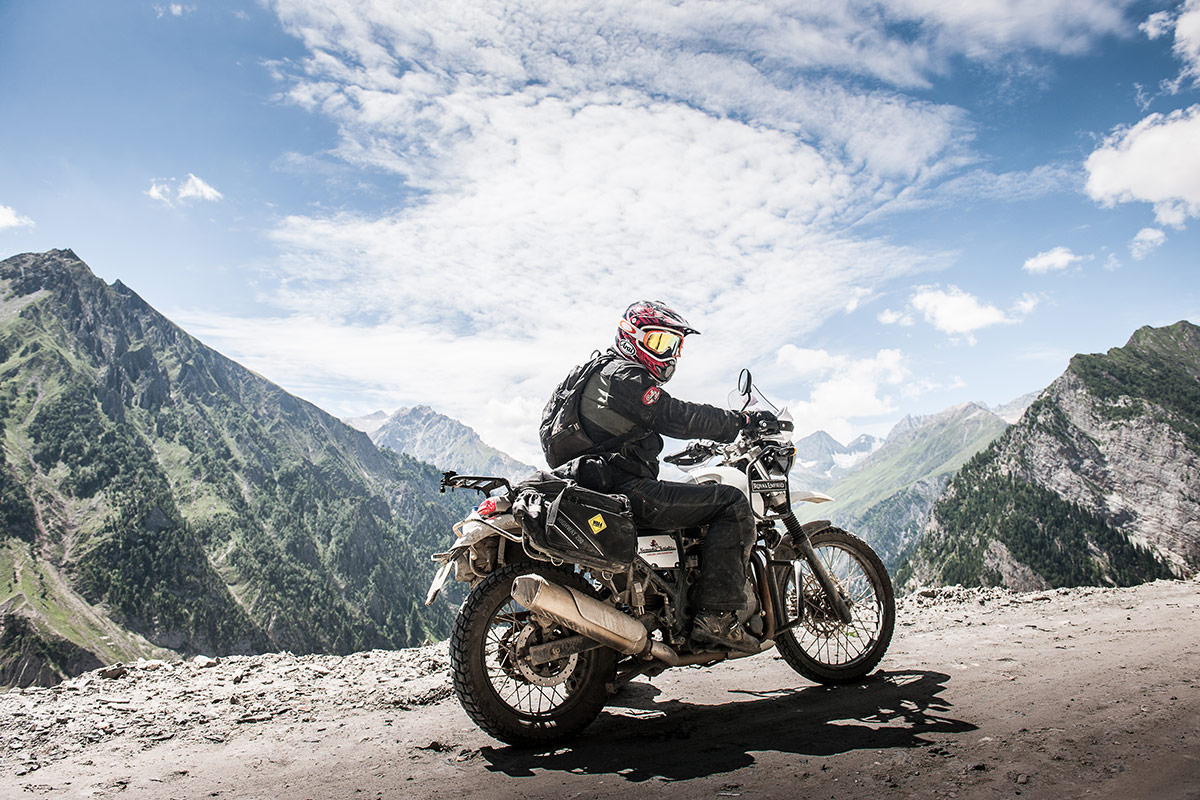 Nomadic Knights motorcyclist in the Himalayas